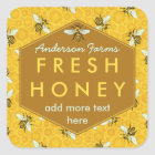 Personalised Honey Jar Label Bees and Honeycomb