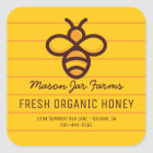 Personalised Honey Jar | Modern Honeycomb Bee Square Sticker