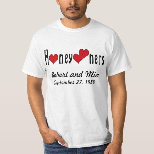 Personalised Honeymooners and Hearts T-Shirt