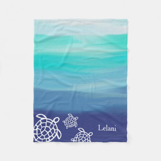 Personalised Honu Sea Turtles Ocean Waters Fleece Blanket