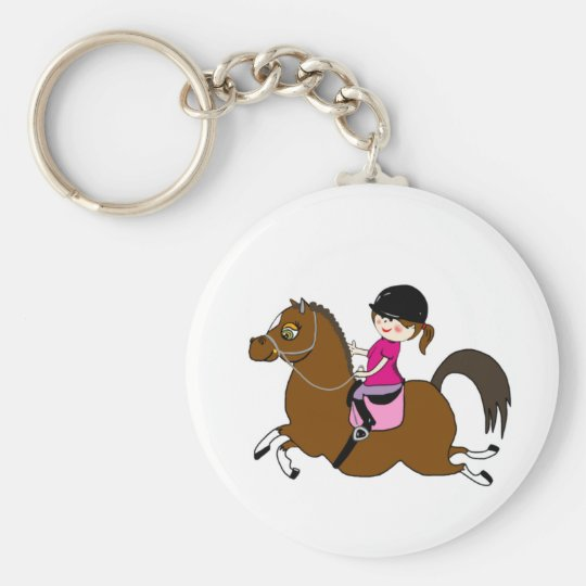 Personalised Horse and Rider Dressage Accessory Basic Round Button Key Ring