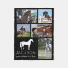 Personalised Horse Photo Collage Equestrian Riding Fleece Blanket
