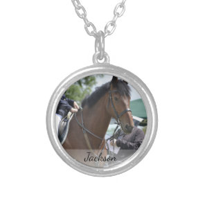 Personalised Horse Riding Equestrian Photo & Name Silver Plated Necklace