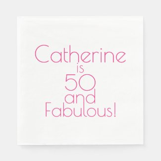 Personalised Hot Pink 50 and Fabulous Birthday Paper Napkin