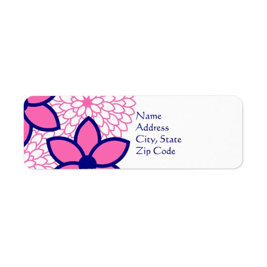 Personalised Hot Pink and Navy Blue Modern Floral