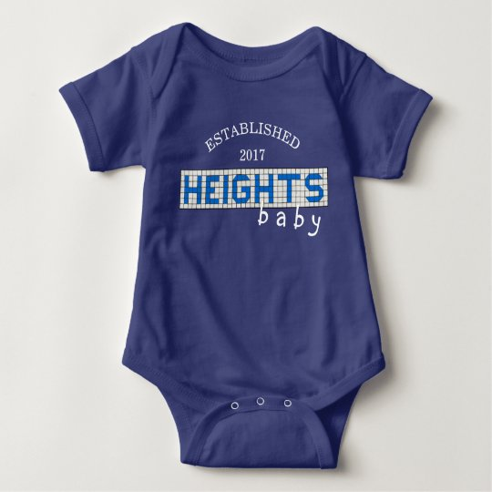 Personalised Houston Heights Blue and White Tile Baby Bodysuit