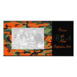 Personalised Hunter Orange Camo Frame Photocard Customised Photo Card