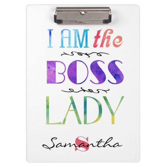 Personalised I am the Boss Lady Typography Clipboard
