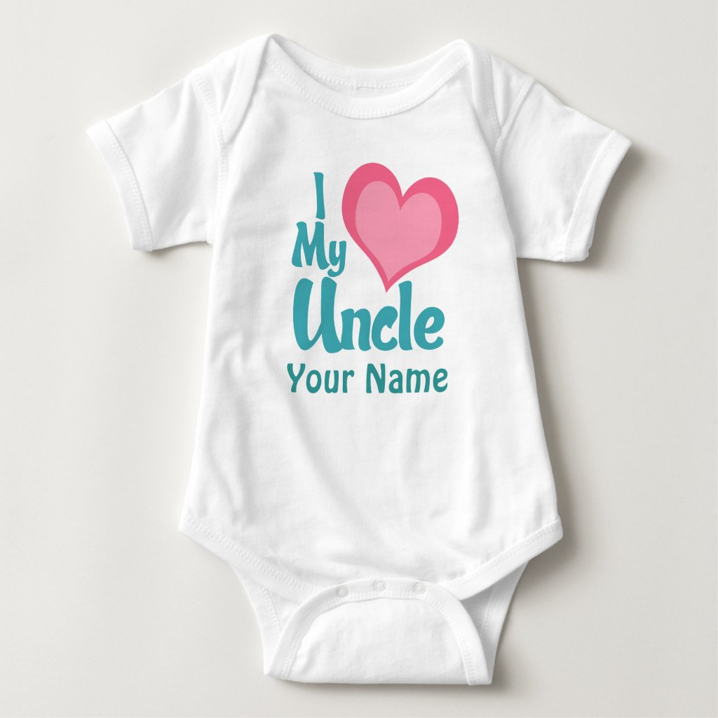 Personalised I Love My Uncle Baby Bodysuit