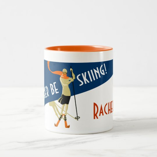 Personalised: I'd Rather Be Skiing! Vintage Skiers Two-Tone