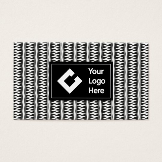 Personalised Ikat Zigzag Black White with Logo Business Card