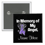 Personalised In Memory of My Angel Uterine Cancer Pinback Buttons