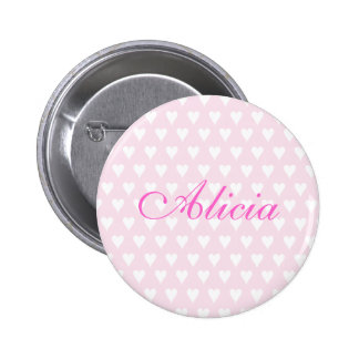 Personalised initial A girls name hearts button