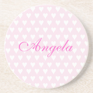 Personalised initial A girls name hearts coaster