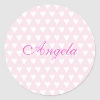 Personalised initial A girls name hearts stickers