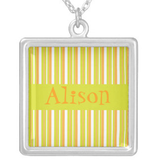 Personalised initial A girls name stripes necklace