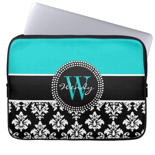 Personalised Initial Aqua Black Damask Pattern Laptop Sleeve