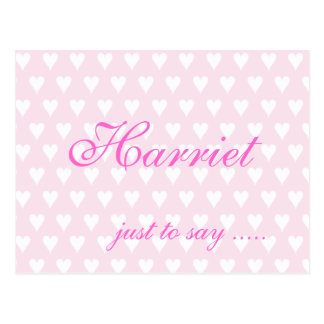 Personalised initial H girls name hearts postcard