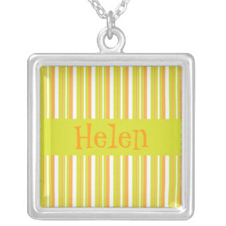 Personalised initial H girls name stripes necklace