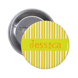 Personalised initial J girls name stripes button