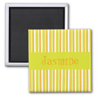 Personalised initial J girls name stripesmagnet Square Magnet
