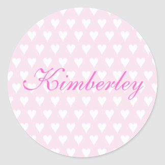 Personalised initial K girls name hearts stickers