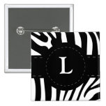 Personalised initial L zebra stripes button, pin