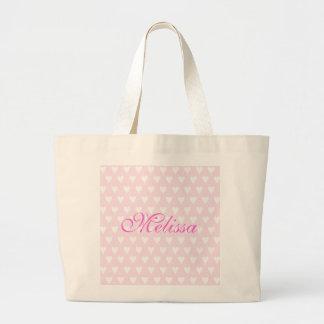 Personalised initial M girls name hearts custom Jumbo Tote Bag