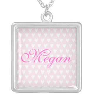 Personalised initial M girls name hearts necklace