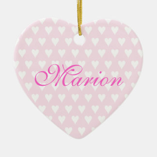 Personalised initial M girls name hearts ornament