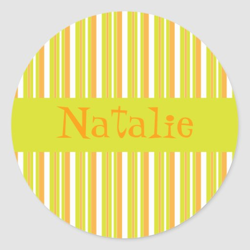 Personalised initial N girls name stripes stickers