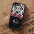 Personalised Initial, Pink, Black Damask Pattern Tough Xtreme iPhone 6 Case