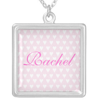 Personalised initial R girls name hearts necklace