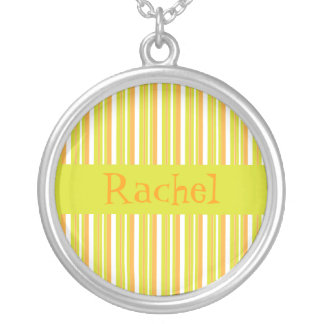 Personalised initial R girls name stripes necklace