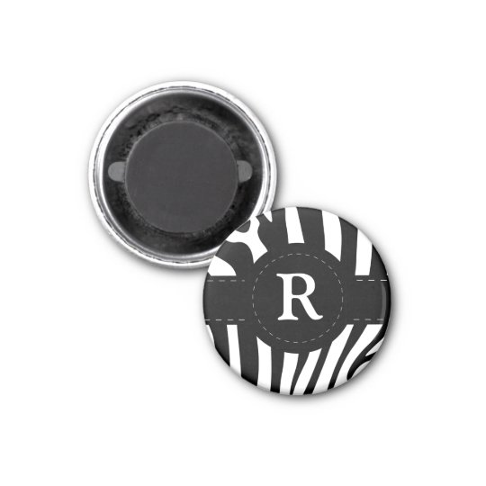 Personalised initial R zebra stripes magnet