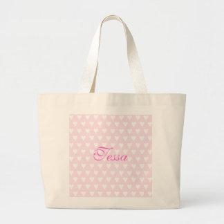 Personalised initial T girls name hearts custom Jumbo Tote Bag