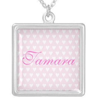 Personalised initial T girls name hearts necklace