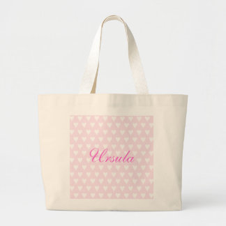 Personalised initial U girls name hearts custom Large Tote Bag