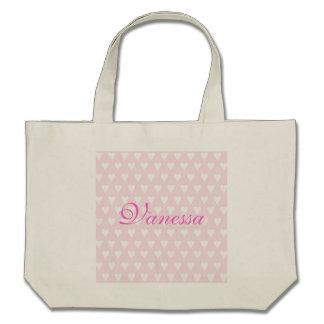 Personalised initial V girls name hearts custom Bag