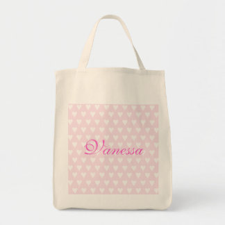 Personalised initial V girls name hearts custom Grocery Tote Bag