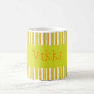 Personalised initial V girls name stripes mug