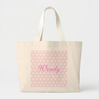 Personalised initial W girls name hearts custom Tote Bags