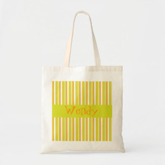 Personalised initial W girls name stripes tote bag