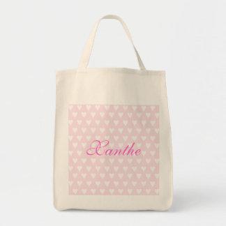 Personalised initial X girls name hearts custom Tote Bag