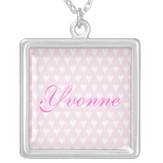 Personalised initial Y girls name hearts necklace