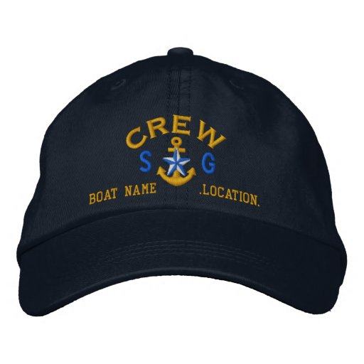Personalised Initials Text Crew Star Anchor Embroidered Hat
