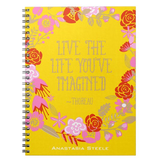 Personalised Inspiration Live Life Imagined Quote Notebook