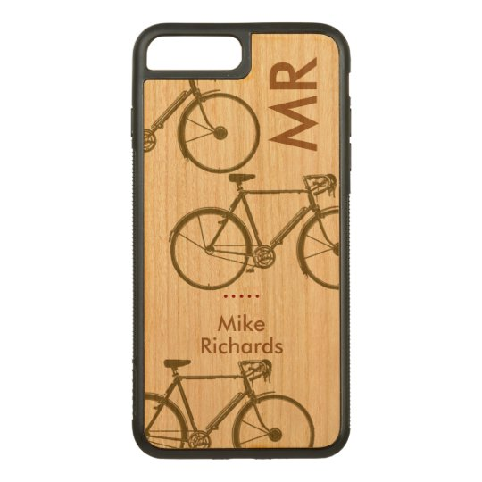 personalised iPhone 6 with bikes on wood Carved