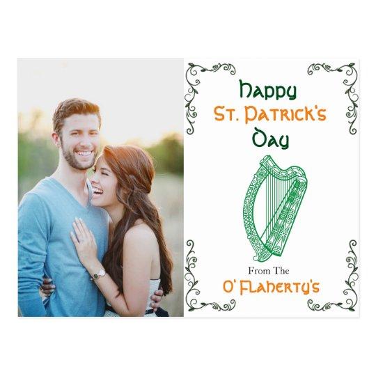 Personalised Irish Harp Postcard   St. Patrick Day