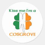 Personalised Irish Kiss Me I'm Cosgrove Round Sticker